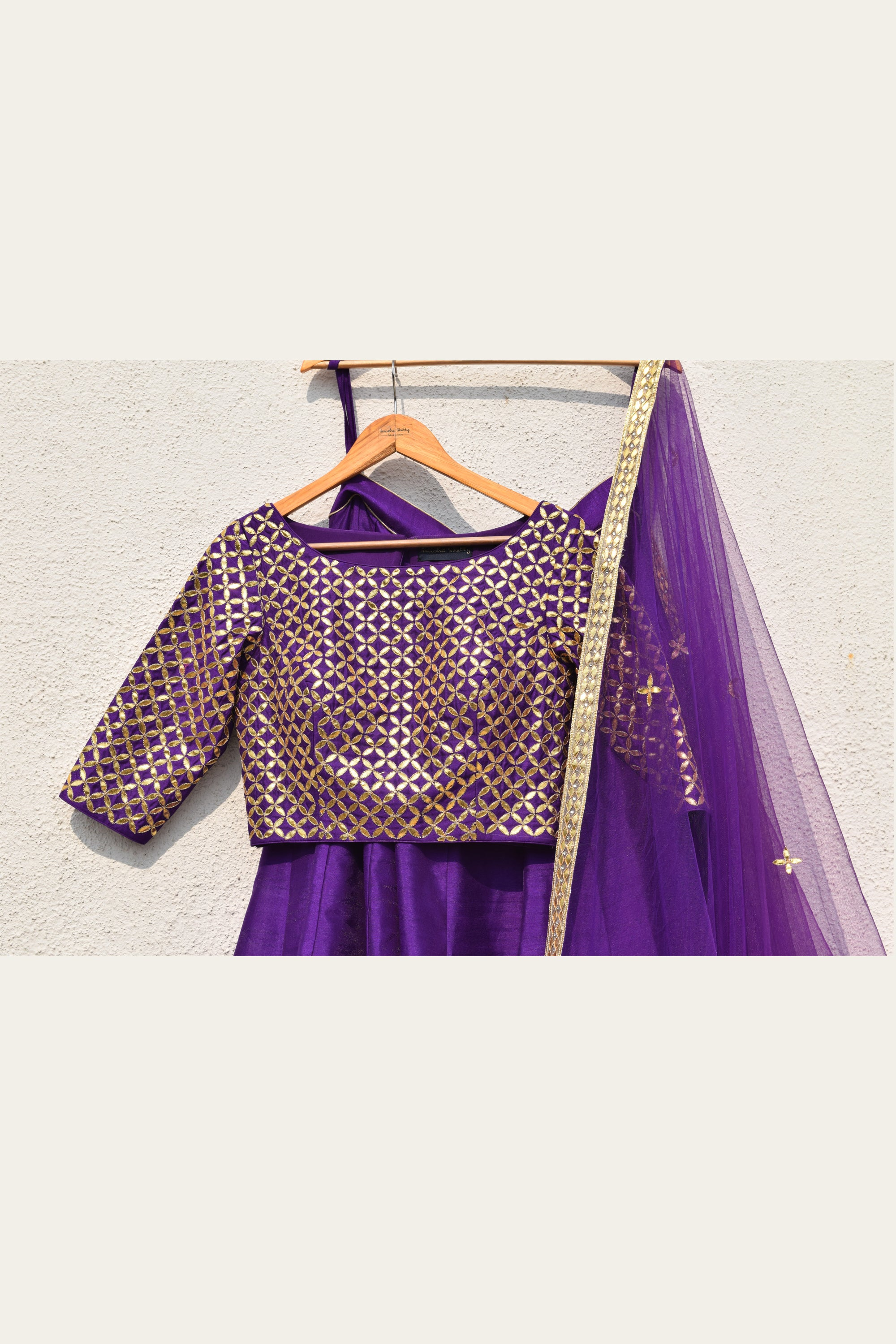 Purple Lehenga With Gota Patti Blouse & Dupatta Front CloseUp