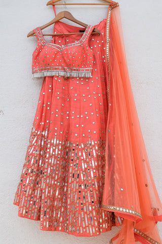 Sunset Orange Mirror Lehenga With Coral Mirror Blouse And Dupatta FRont