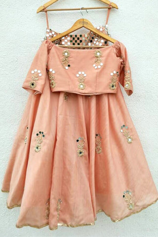 Peach Mirror & Silver Zardozi Embroidered Skirt Set