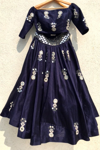Navy Blue Mirror & Zardozi Embroidered Lehenga Set