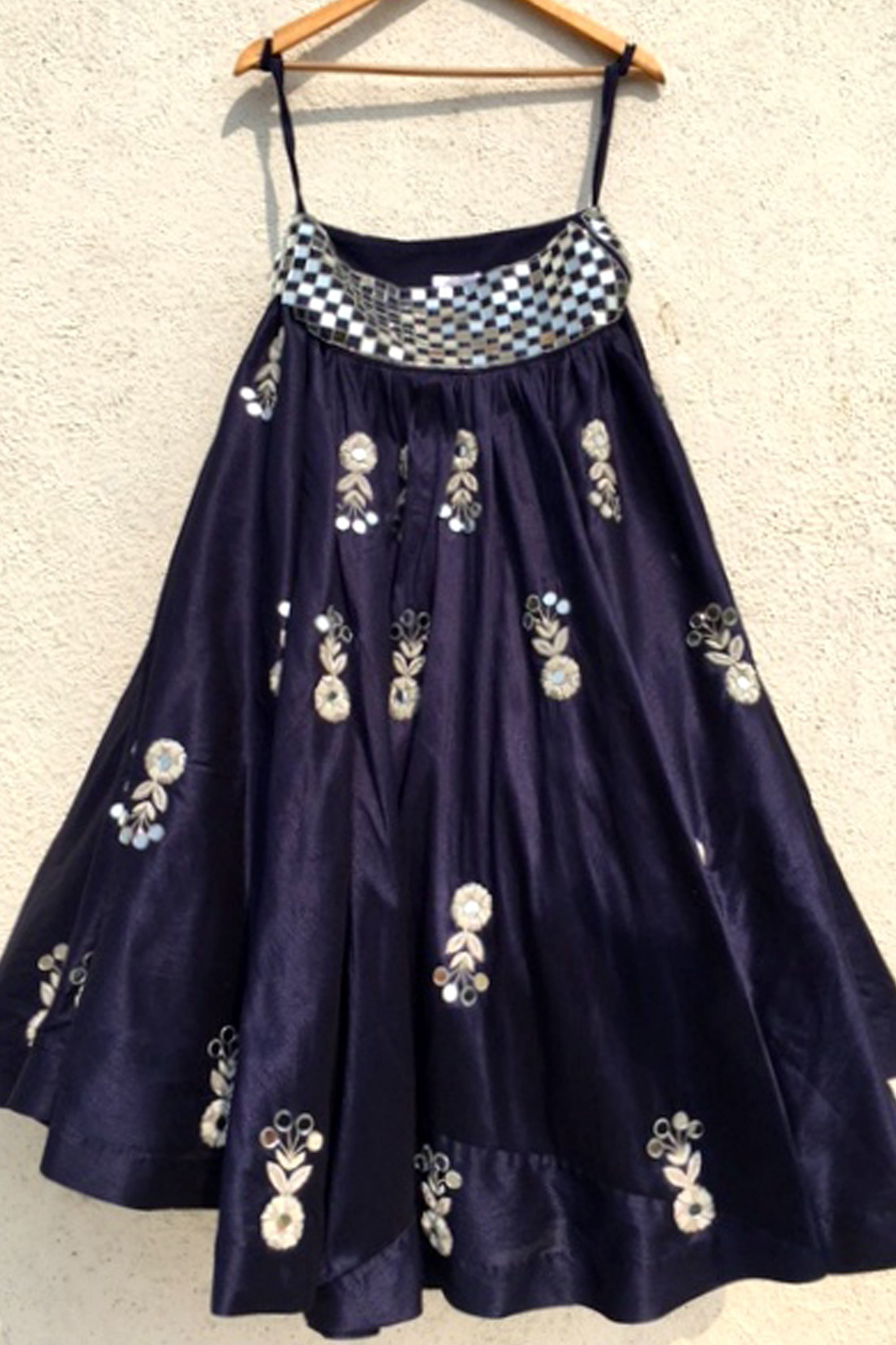 Navy Blue Mirror & Zardozi Embroidered Lehenga Skirt