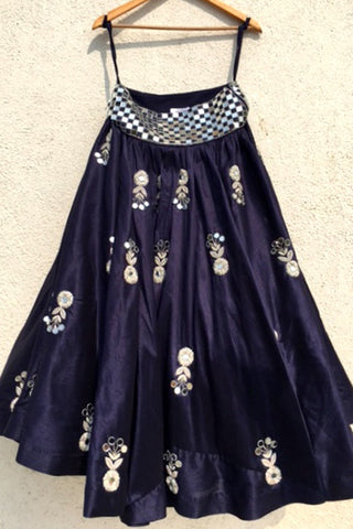 Navy Blue Mirror & Zardozi Embroidered Skirt Set