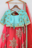 Orange & Turquoise Zardozi Lehenga Back CloseUp