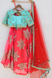 Orange & Turquoise Zardozi Lehenga Back