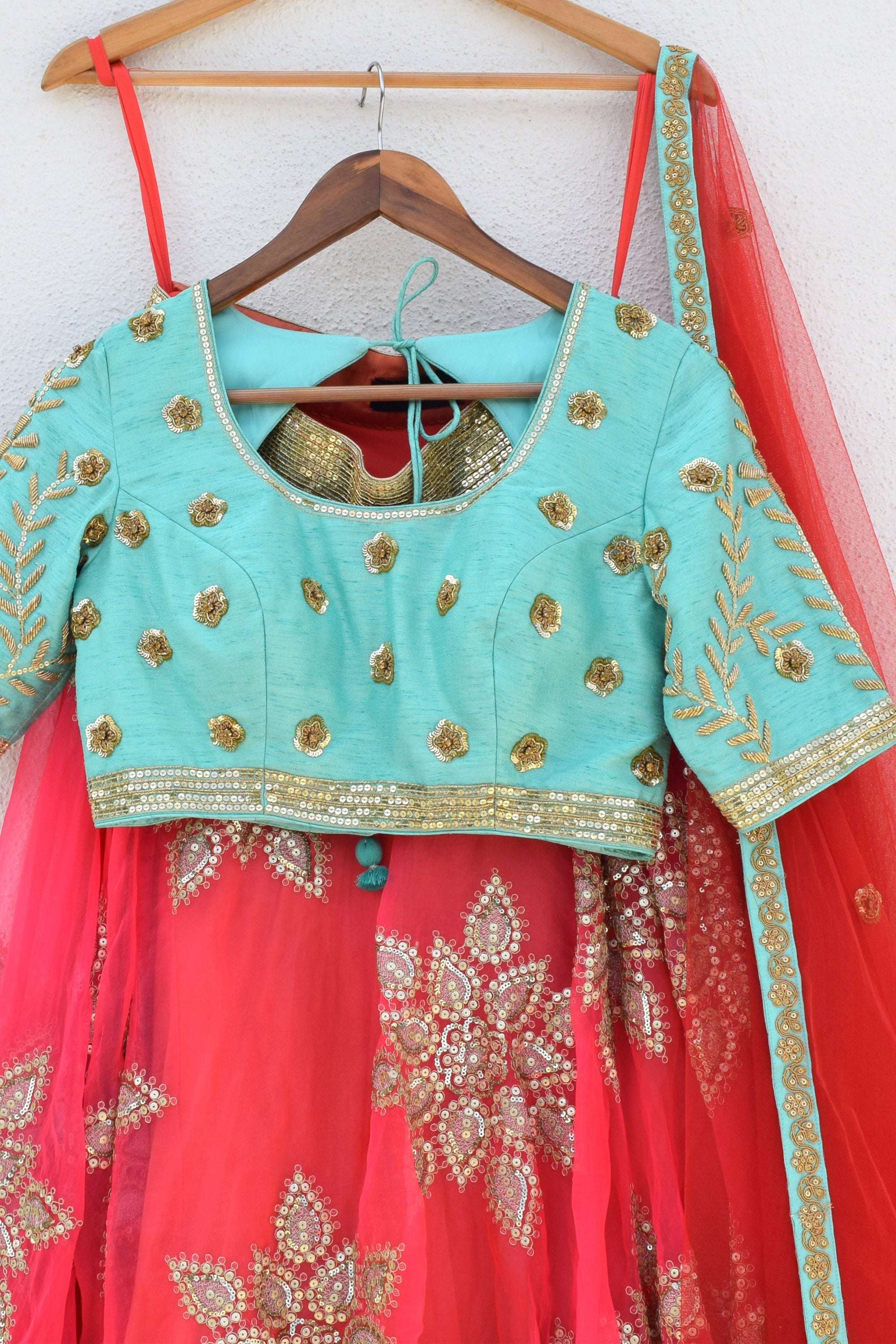 Orange & Turquoise Zardozi Lehenga Front CloseUp