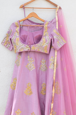 Lavender Lehenga With Blouse & Dupatta