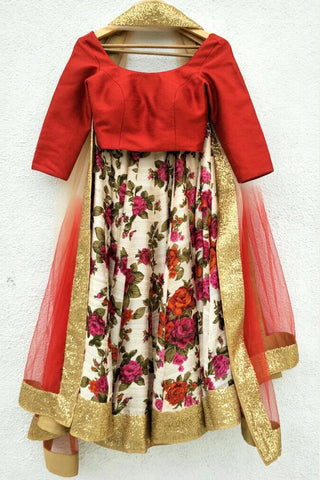 Printed Floral Lehenga With Red Blouse & Dupatta