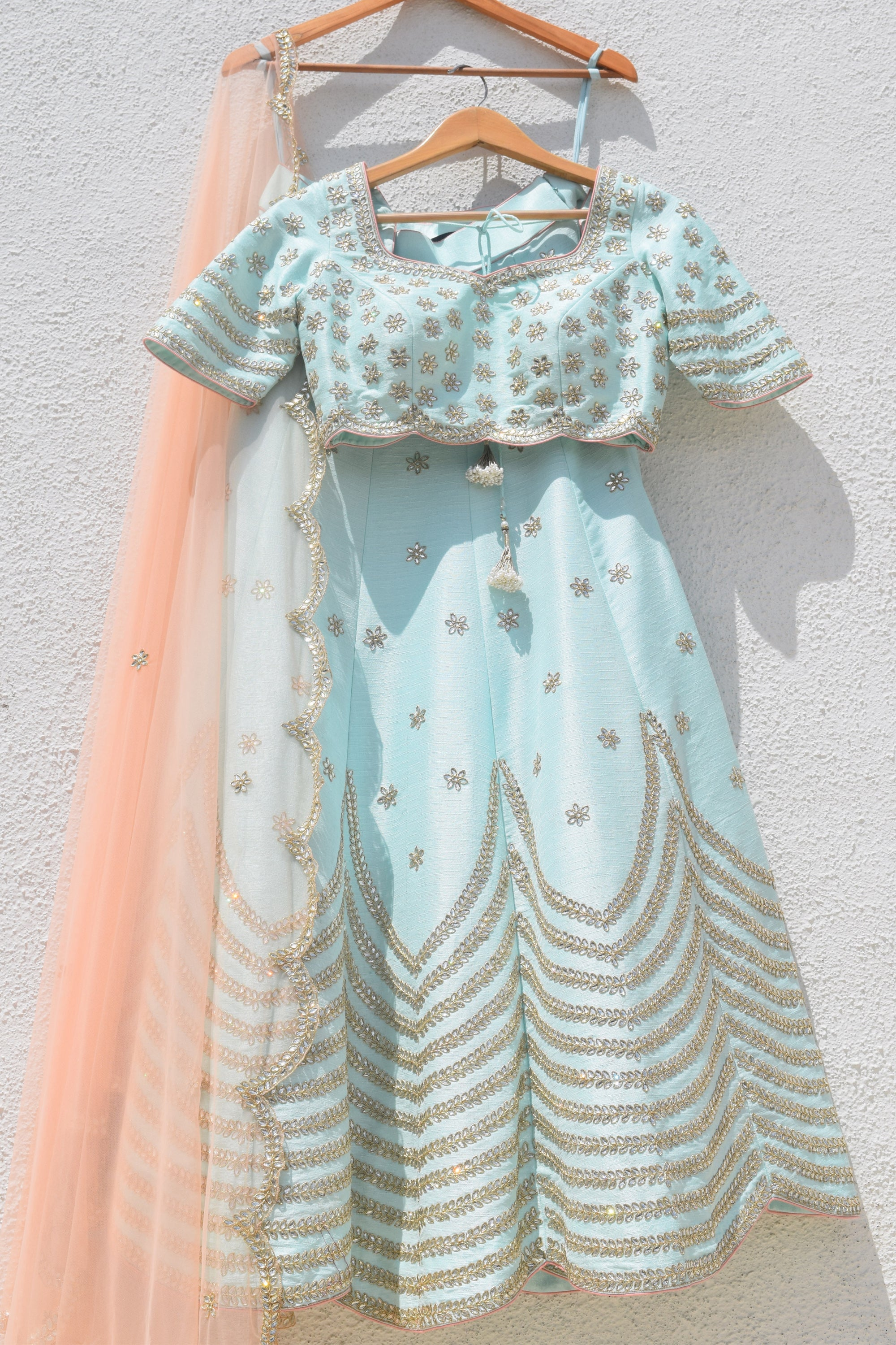 Arctic Green Lehenga With Blouse & Rose Pink Dupatta Front