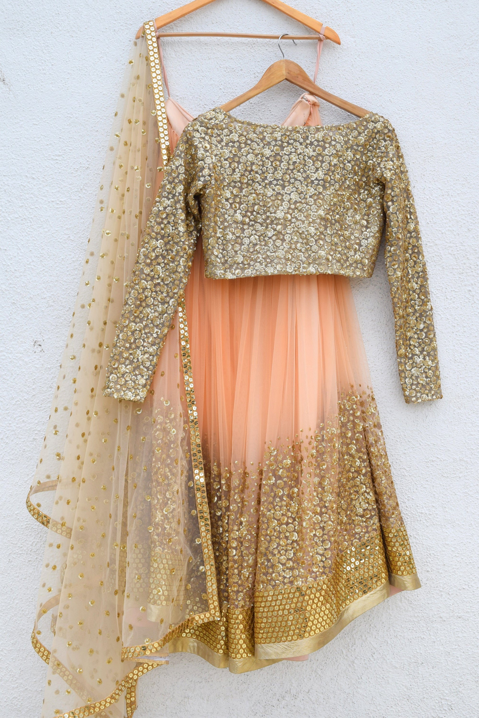 Desert Peach Sand Sequins Lehenga & Nude Gold Sequins Blouse Front