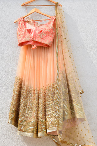 Desert Peach Sand Sequins Lehenga & Melon Orange Blouse