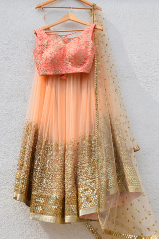 Desert Peach Sand Sequins Lehenga & Melon Orange Blouse Front