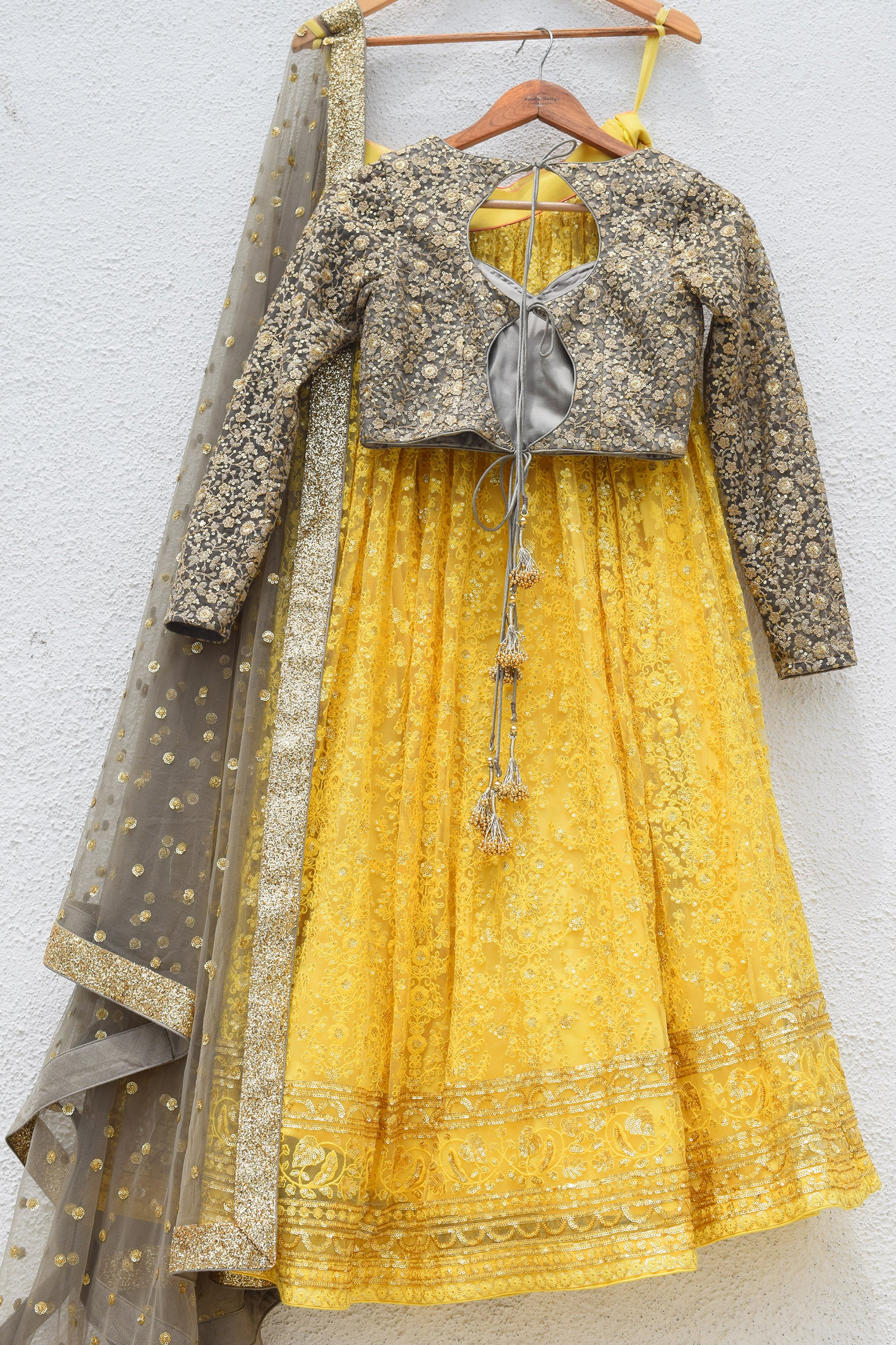 Pineapple Yellow Lehenga With Slate Grey Blouse & Dupatta Back