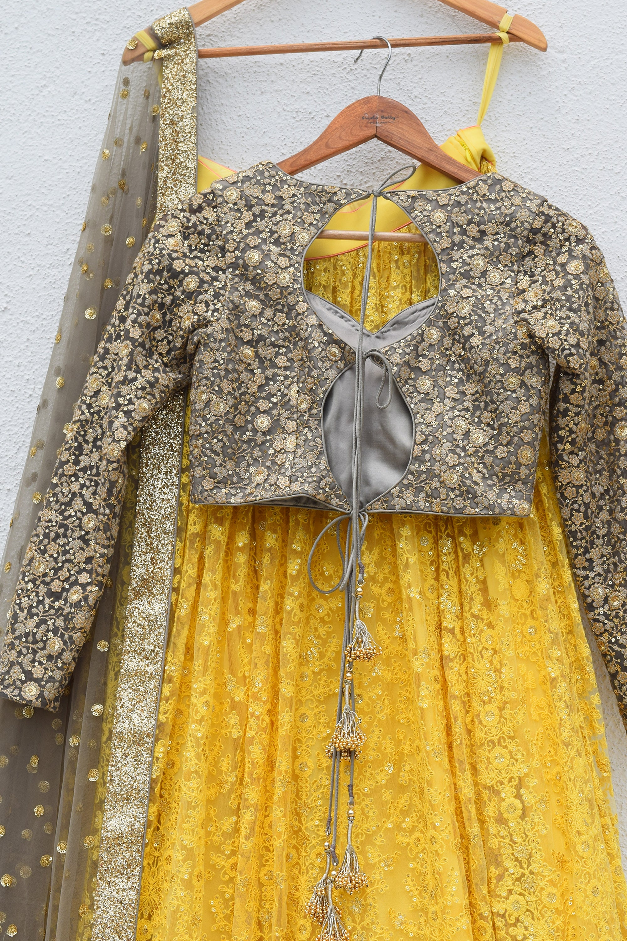 Pineapple Yellow Lehenga With Slate Grey Blouse & Dupatta Back CloseUp
