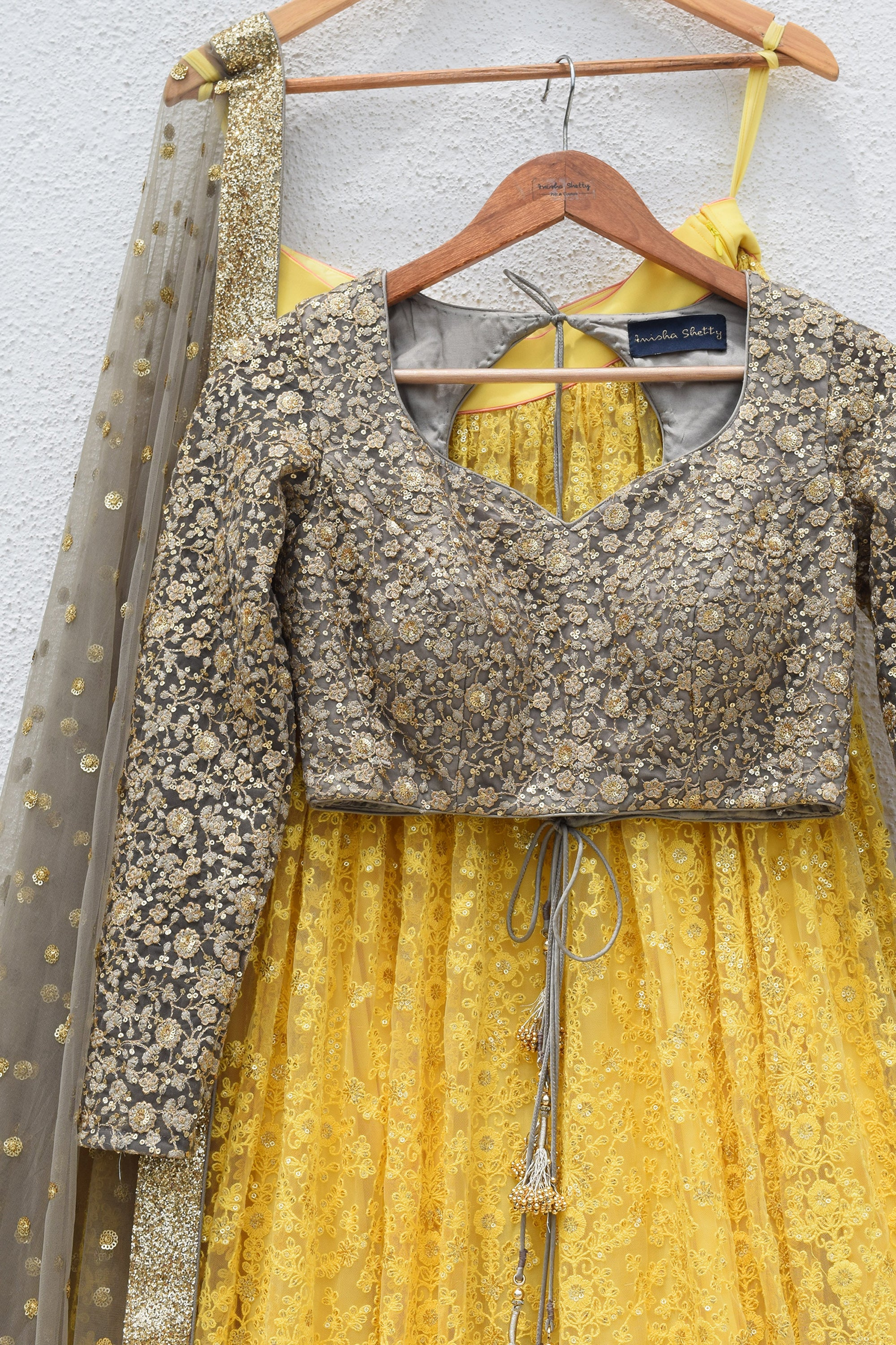 Pineapple Yellow Lehenga With Slate Grey Blouse & Dupatta Front