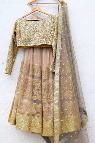 Peanut Tan Lehenga With Nude Gold Sequins Blouse & Grey Dupatta Front