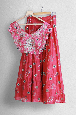 Passion Red Floral Lehenga Full Length