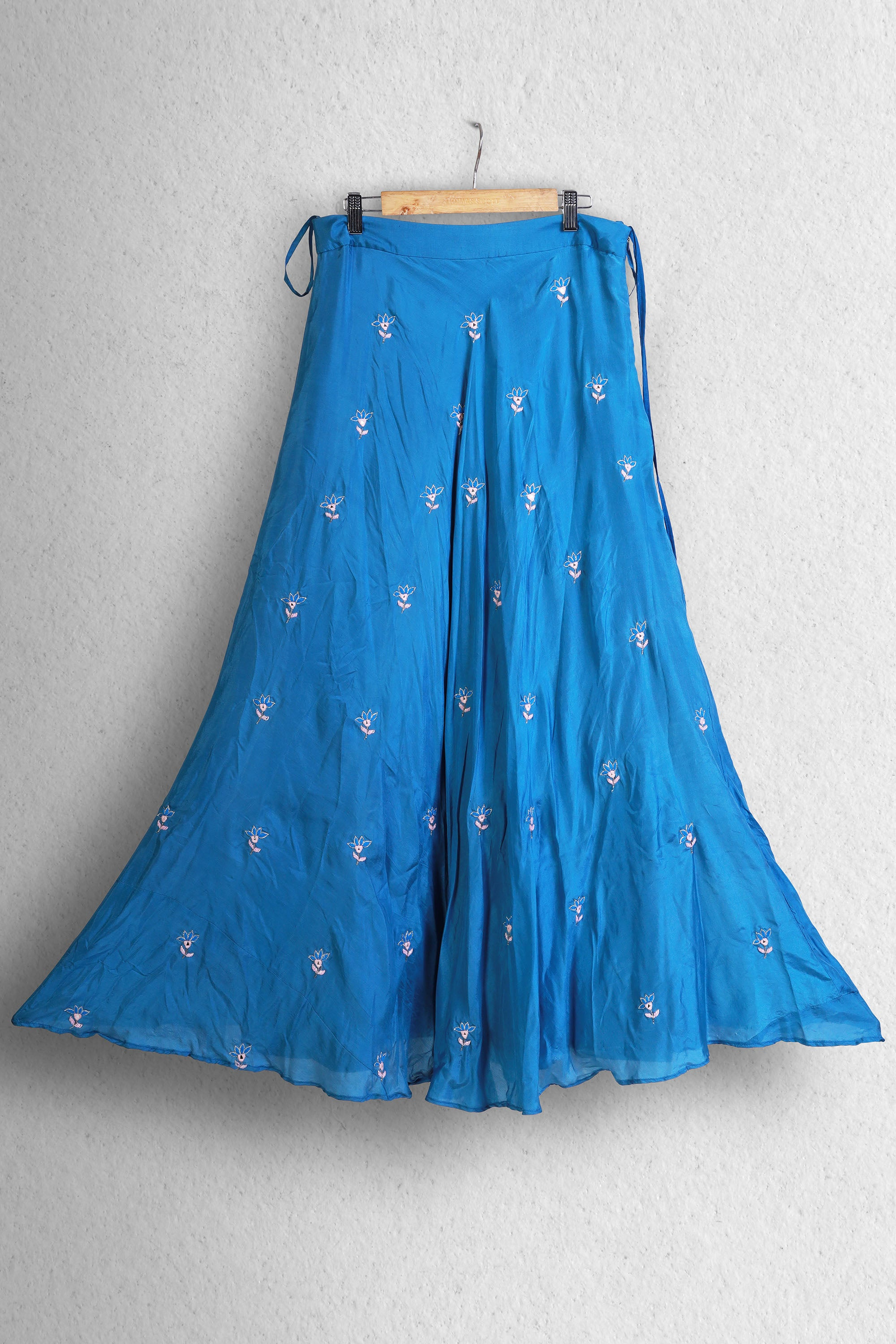 Cobalt Blue Blouse & Lehenga With Mirror Embroidery