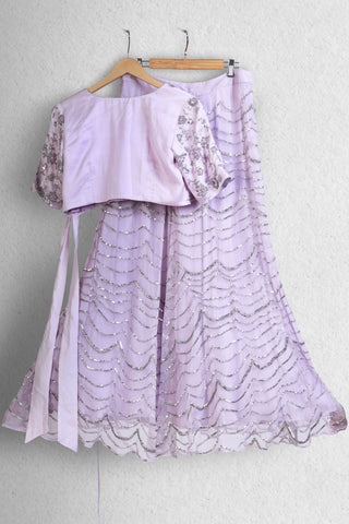Lilac Jute Skirt & Top with Embroidery
