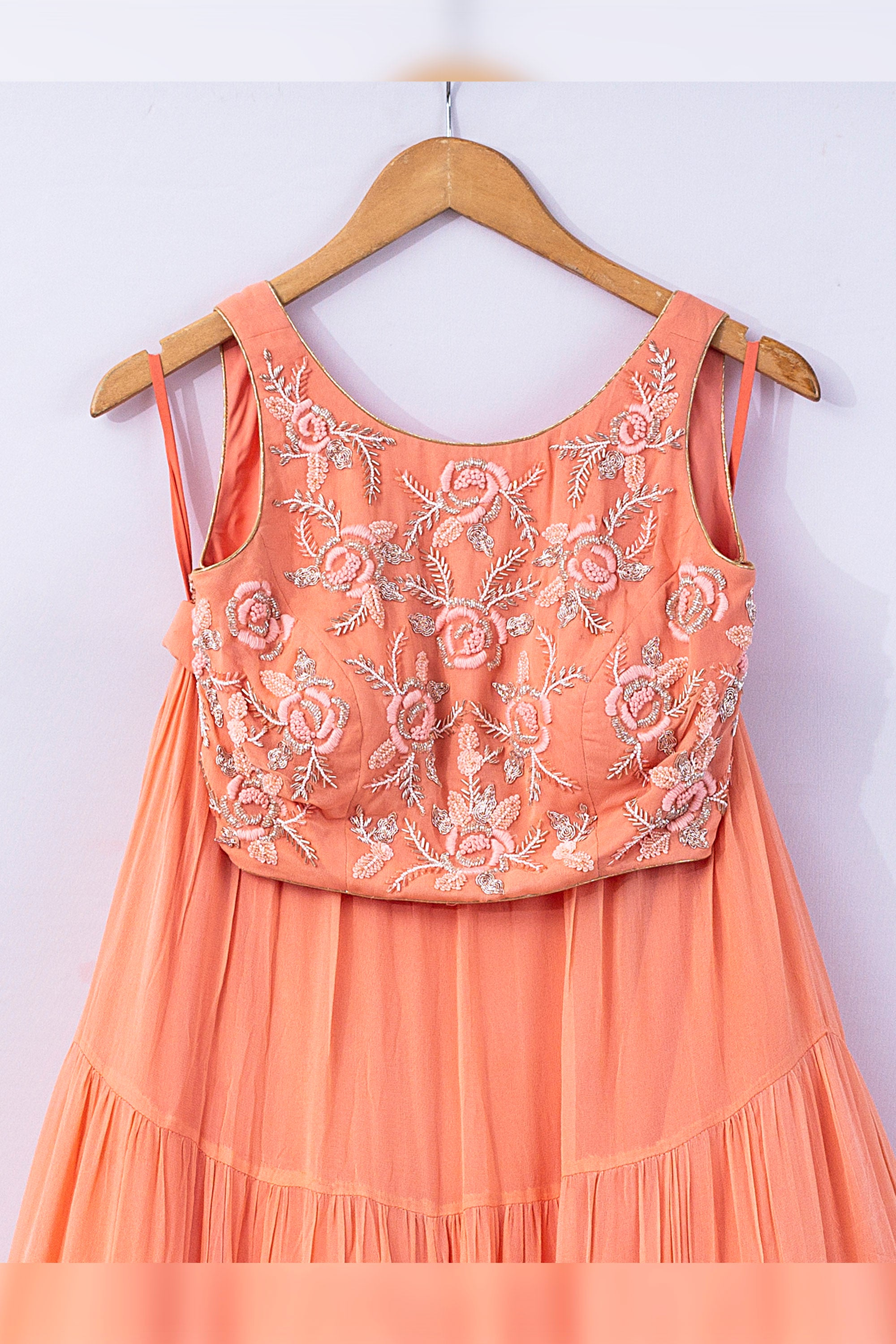 Peach Affair Lehenga CLOSEUP