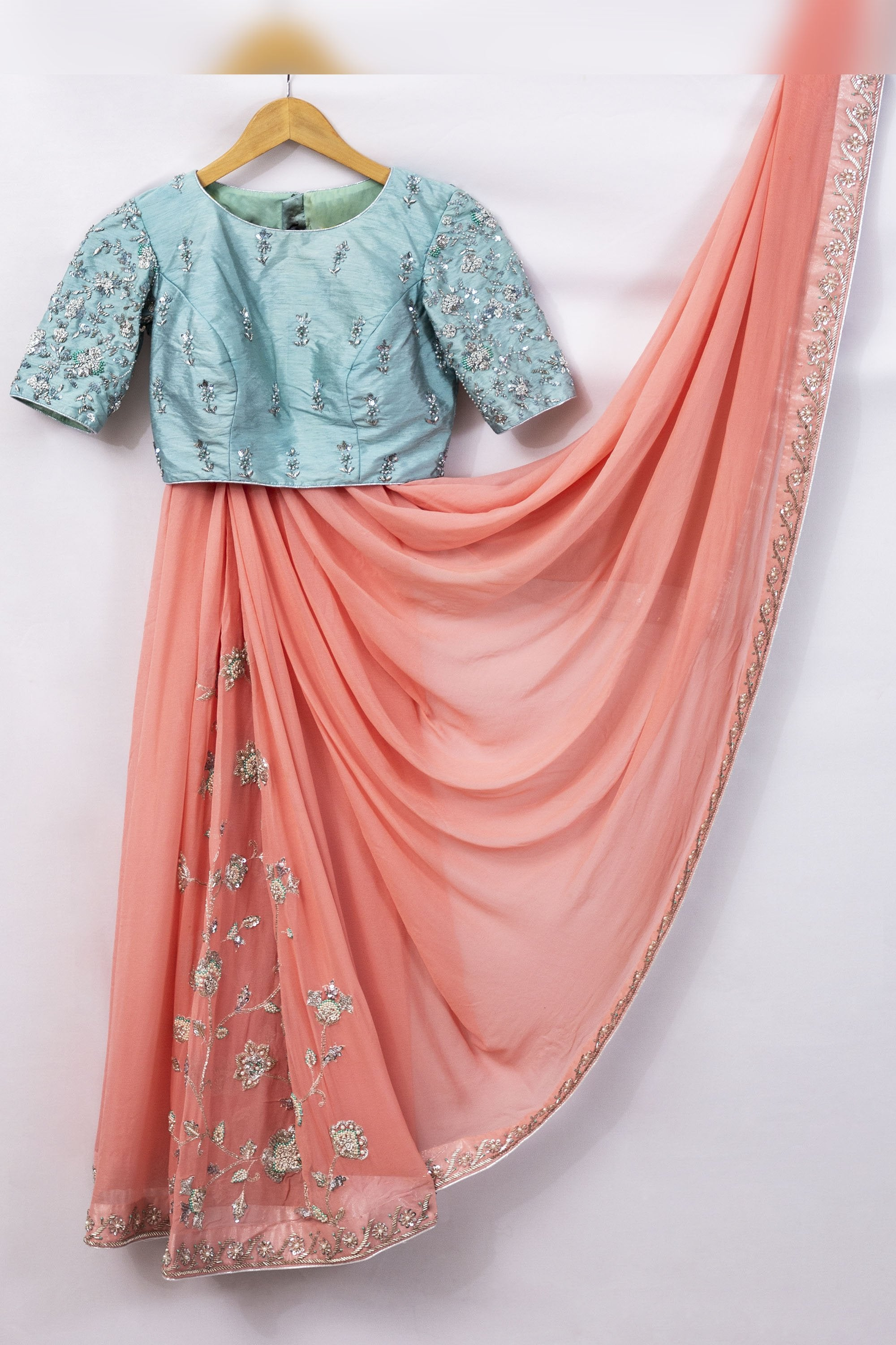 Peach Floral Dream Saree FRONT