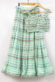 Mint Green Shine Skirt Set FRONT