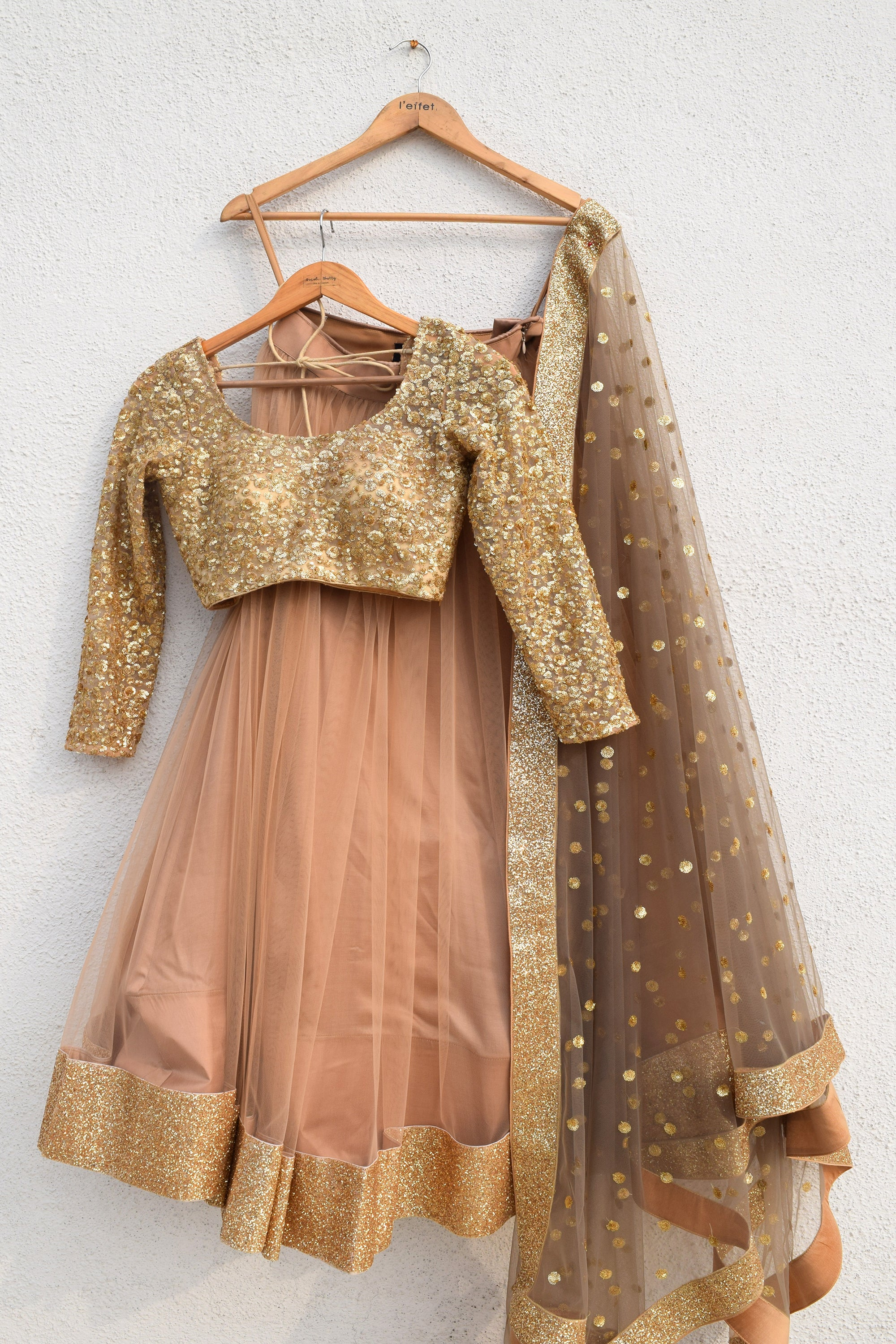 Peanut Shell Lehenga With Slate Grey Sequin Dupatta