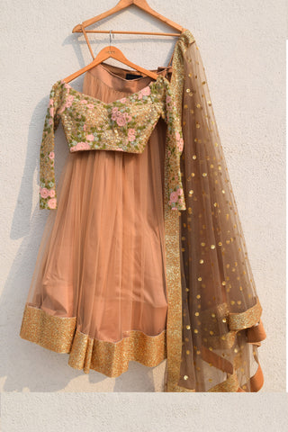 Peanut Shell Lehenga With Floral Off Shoulder Blouse