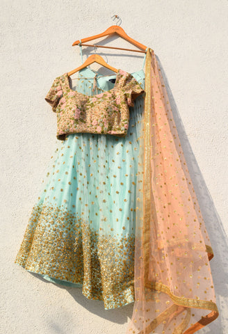Cadet Blue Sequin Lehenga With Peach Sequin Dupatta
