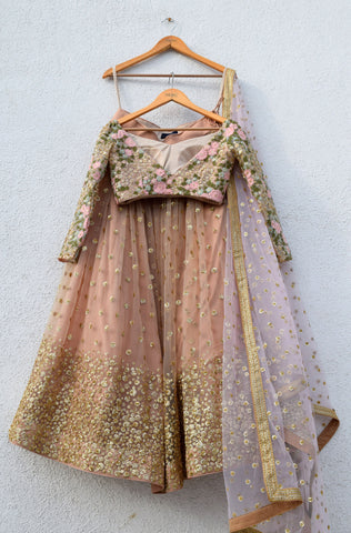 Peanut Tan Sequin Lehenga Set With Off Shoulder Blouse
