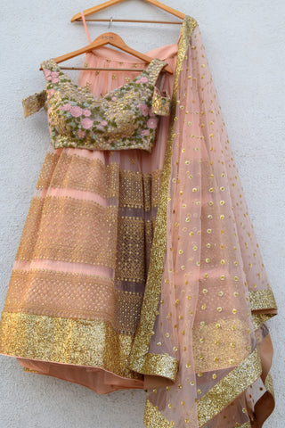 Peach & Gold Lehenga Set With Cold Shoulder Oyster Floral Blouse