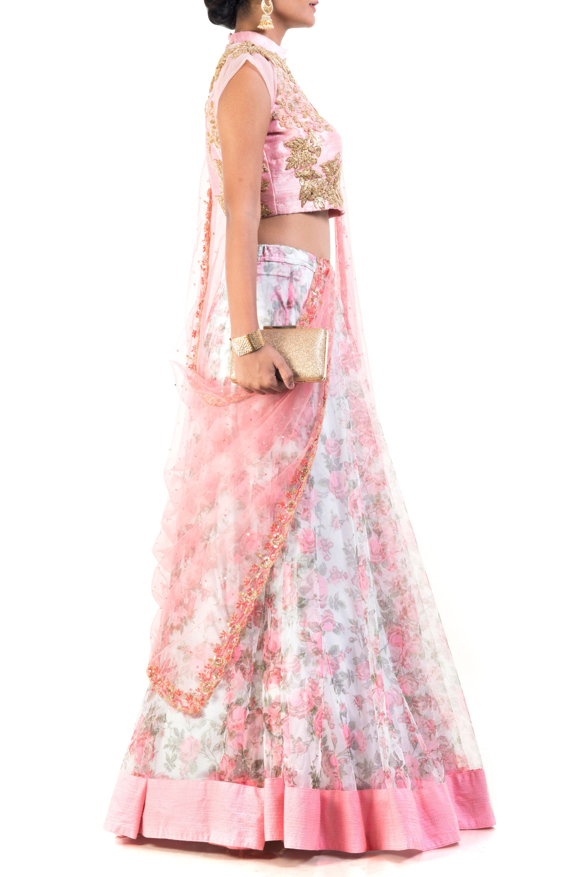 Floral Printed Lehenga Set Side