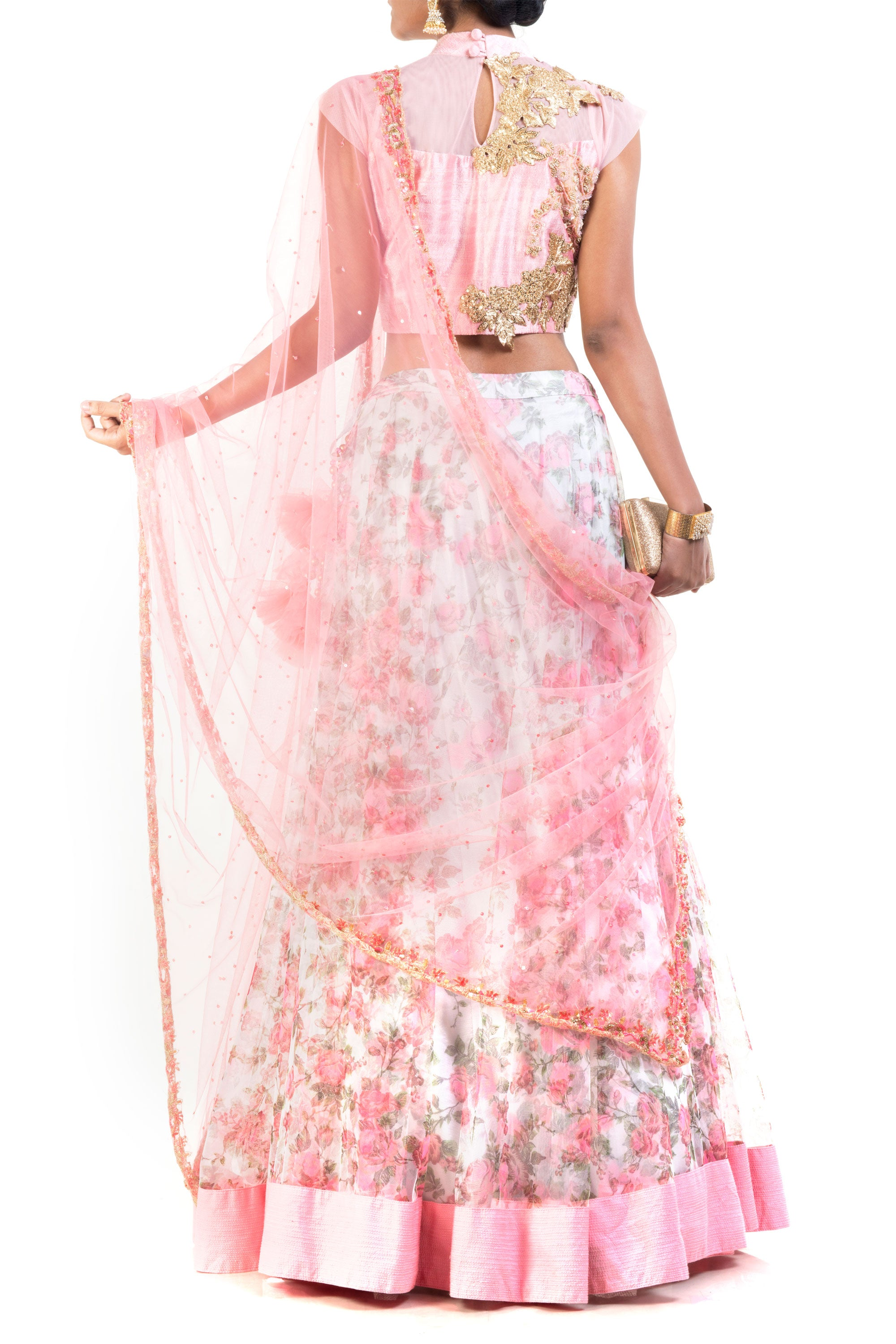 Floral Printed Lehenga Set Back