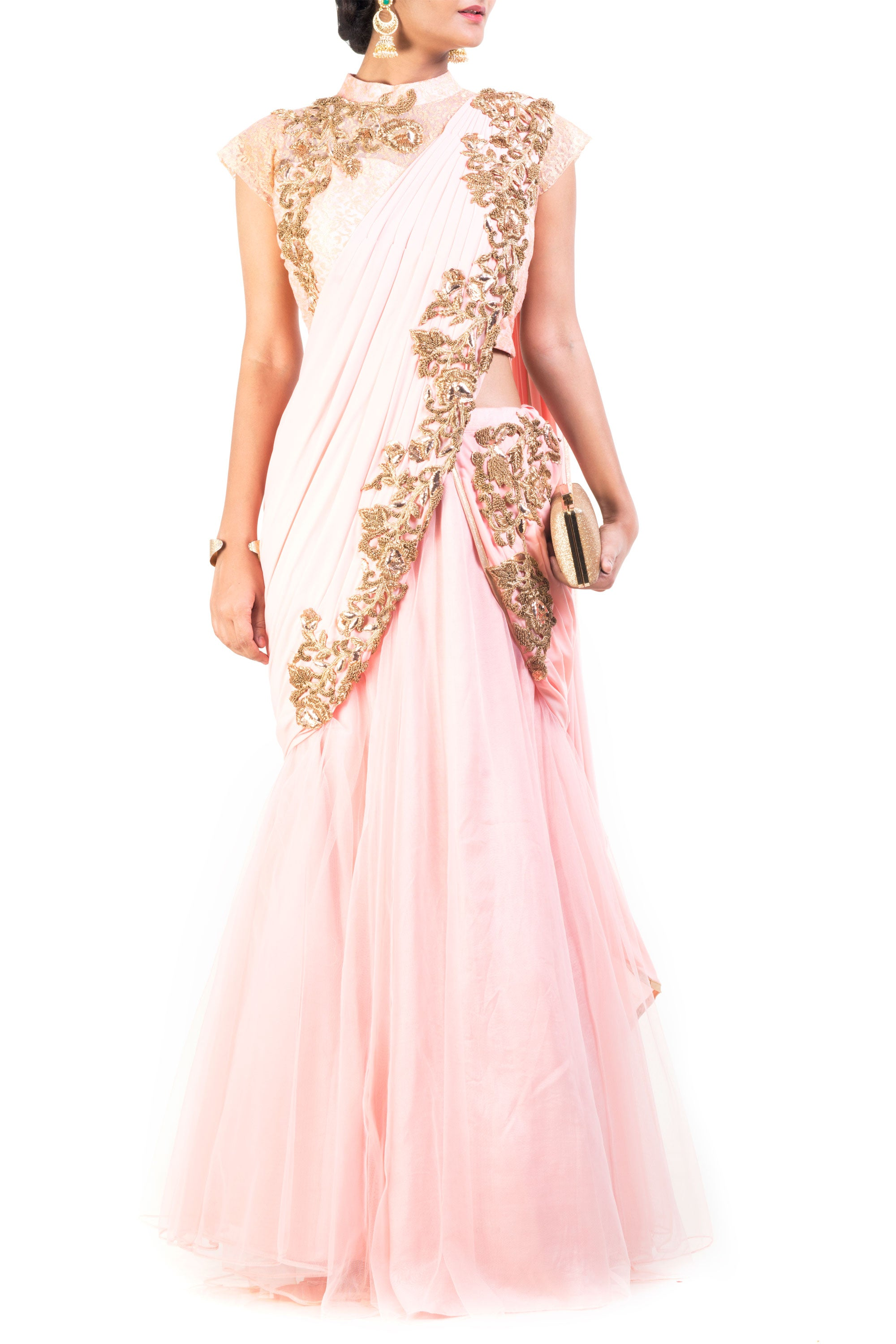 Blush Pink Lehenga Set With Cinderella Lace Front