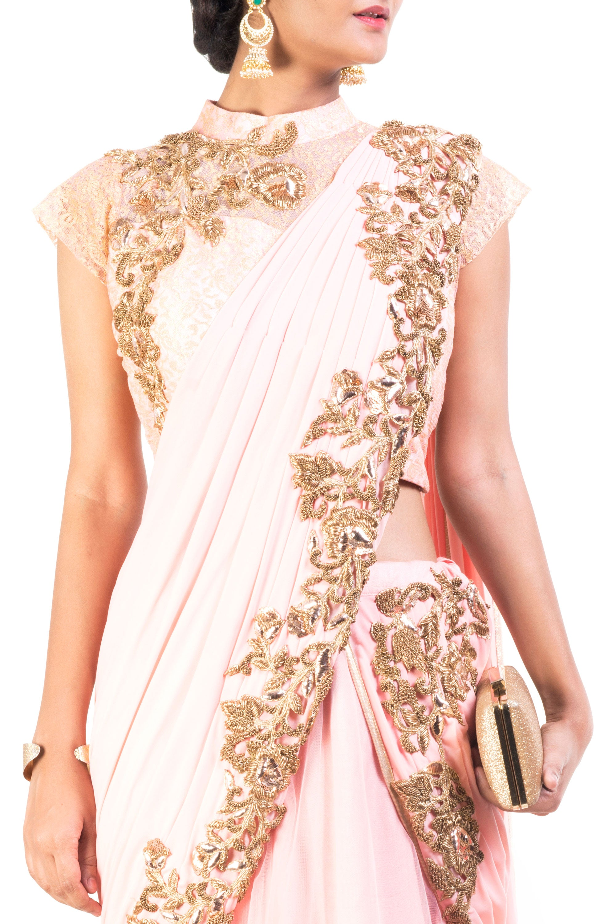 Blush Pink Lehenga Set With Cinderella Lace Closeup