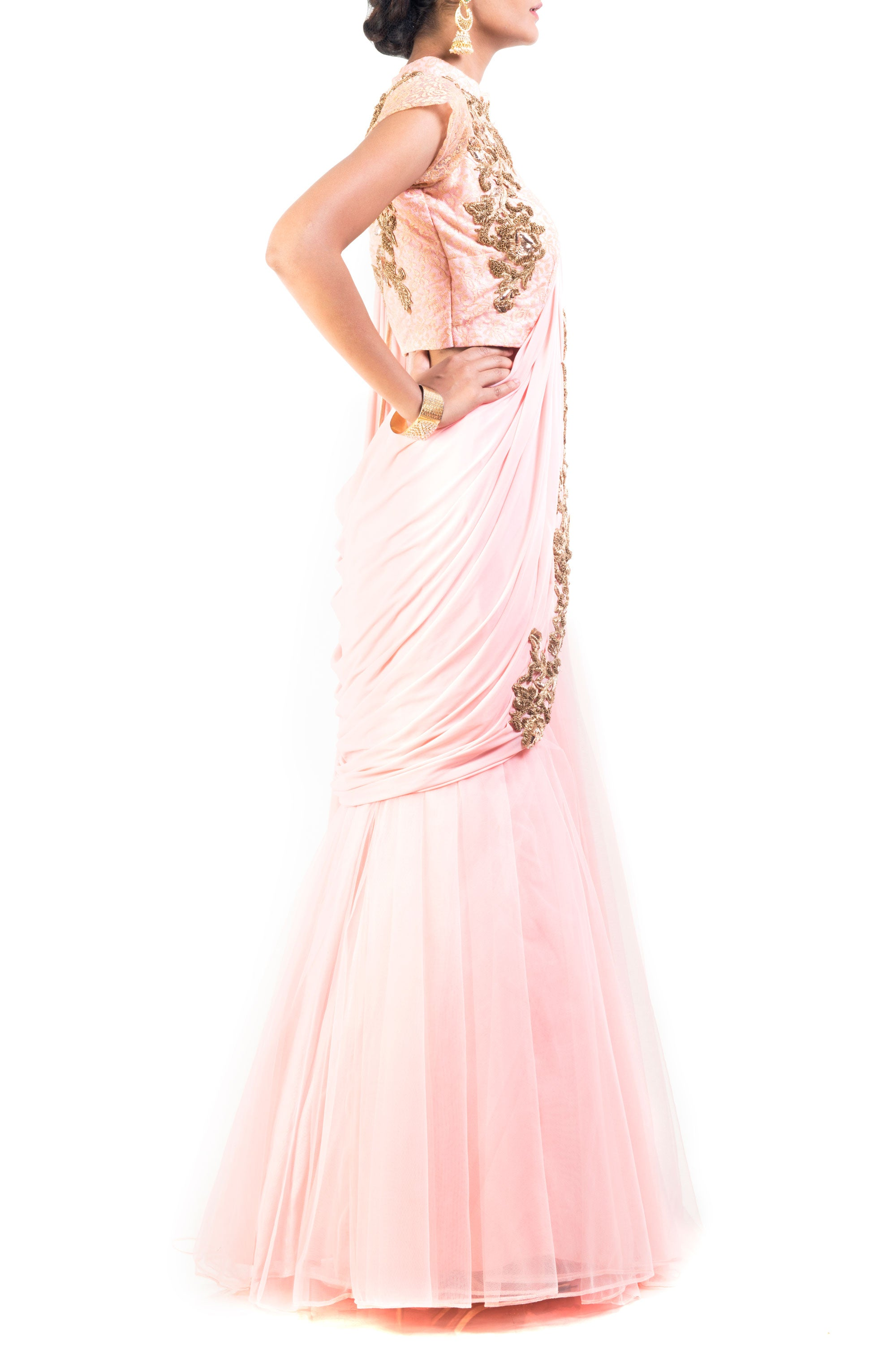 Blush Pink Lehenga Set With Cinderella Lace Side