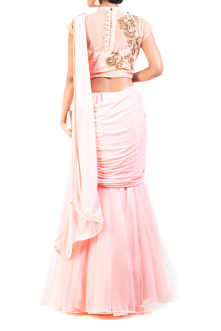 Blush Pink Lehenga Set With Cinderella Lace