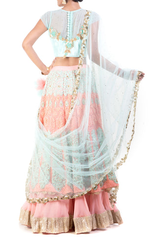 Blended Coral & Aqua Blue Lehenga Set