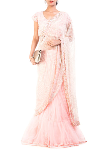 Carnation Pink Embroidered Lehenga Saree Front