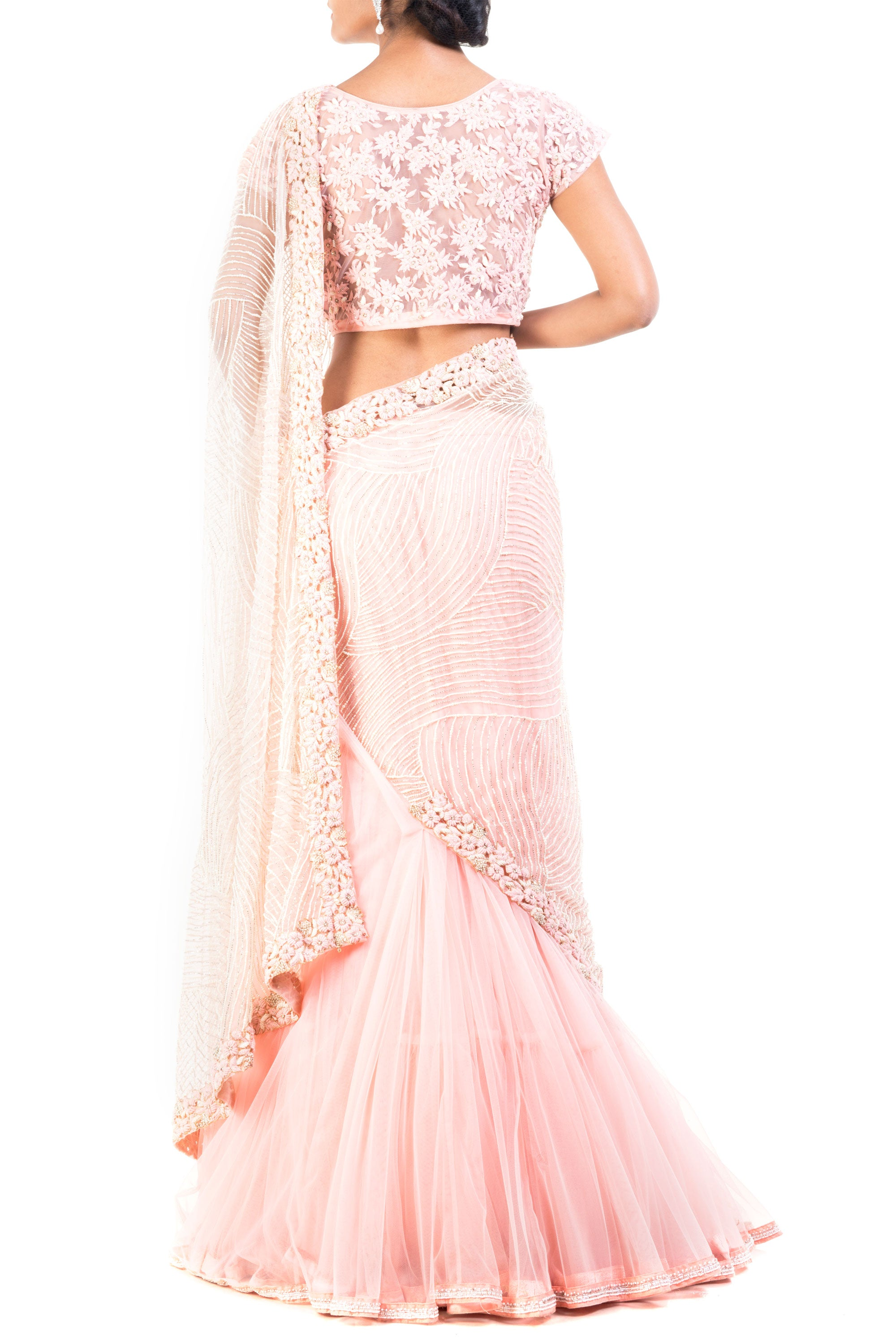 Carnation Pink Embroidered Lehenga Saree Back