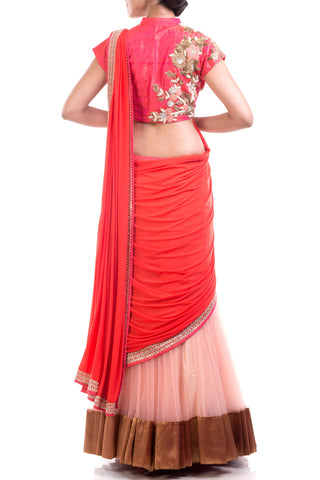 Tomato Red & Peach Attached Dupatta Lehenga Set