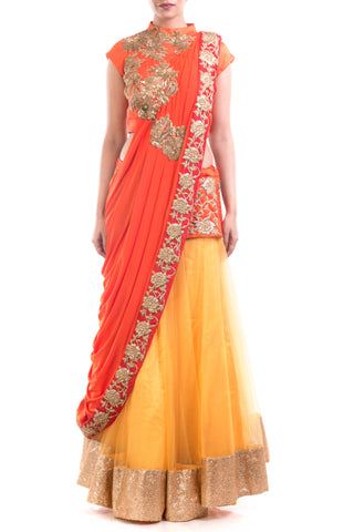 Gold & Orange Red Attached Dupatta Lehenga Set Front