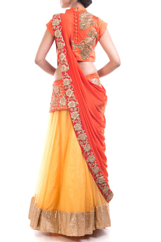 Gold & Orange Red Attached Dupatta Lehenga Set