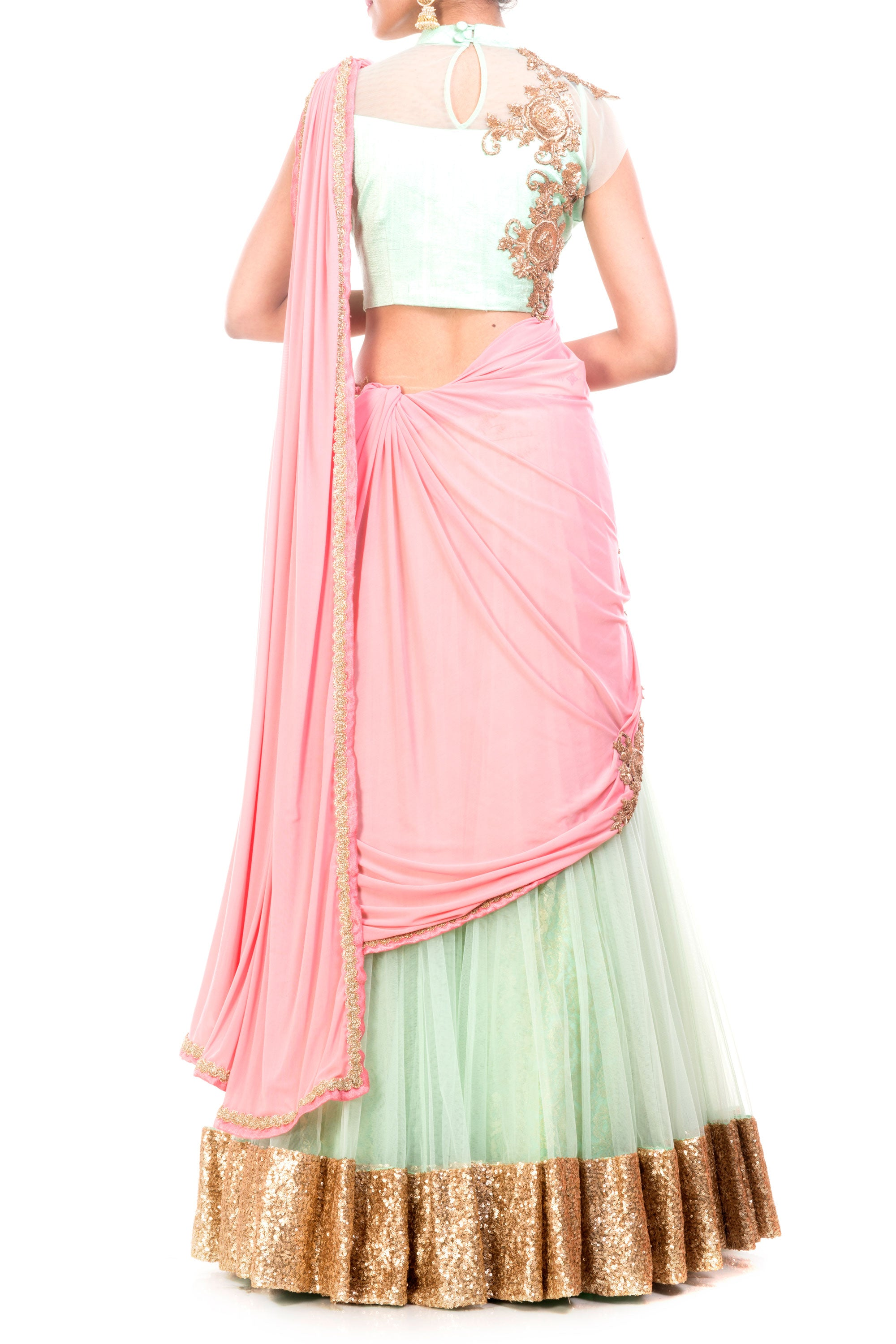 Sea Green & Pinkish Peach Lehenga Set Back