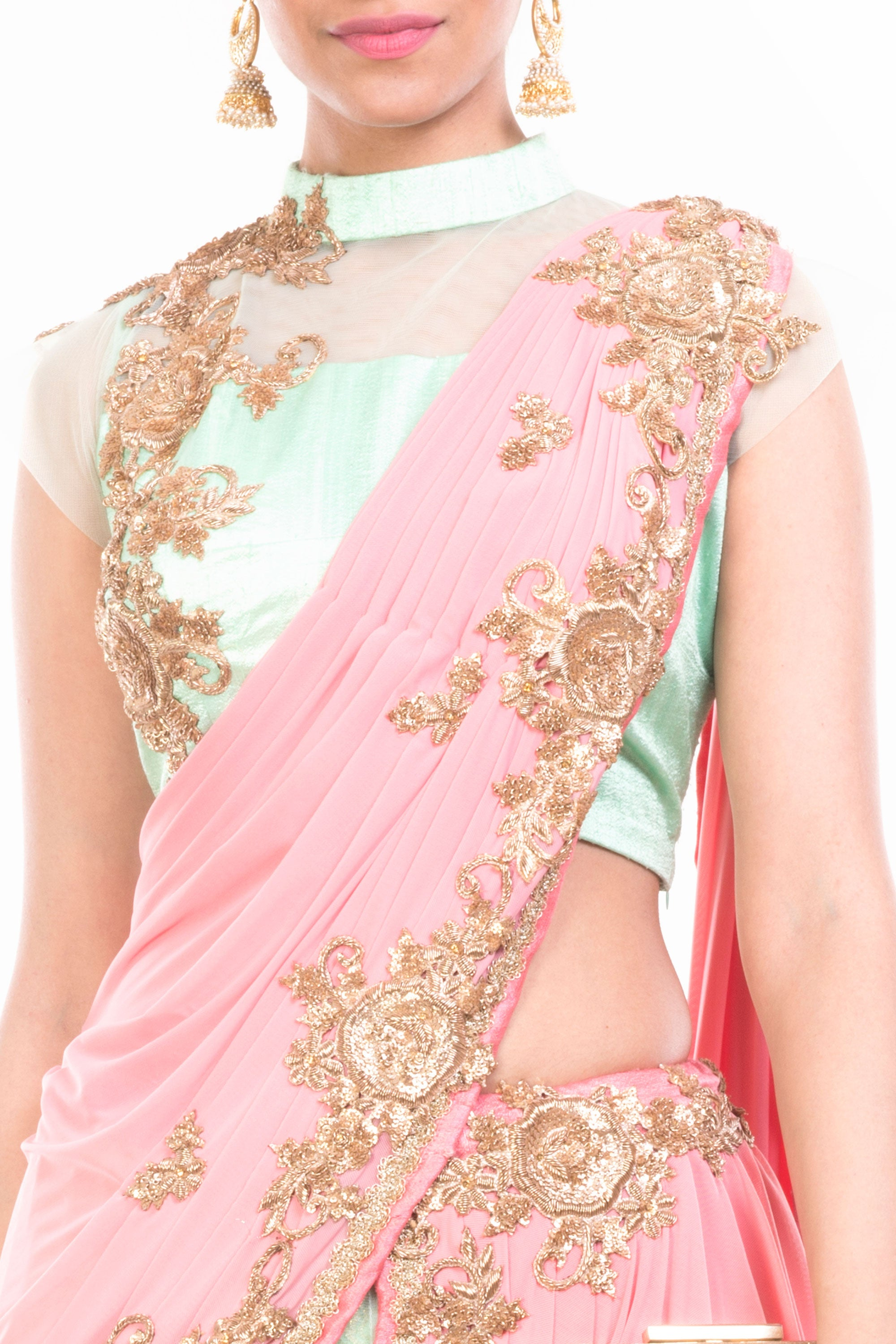 Sea Green & Pinkish Peach Lehenga Set Closeup
