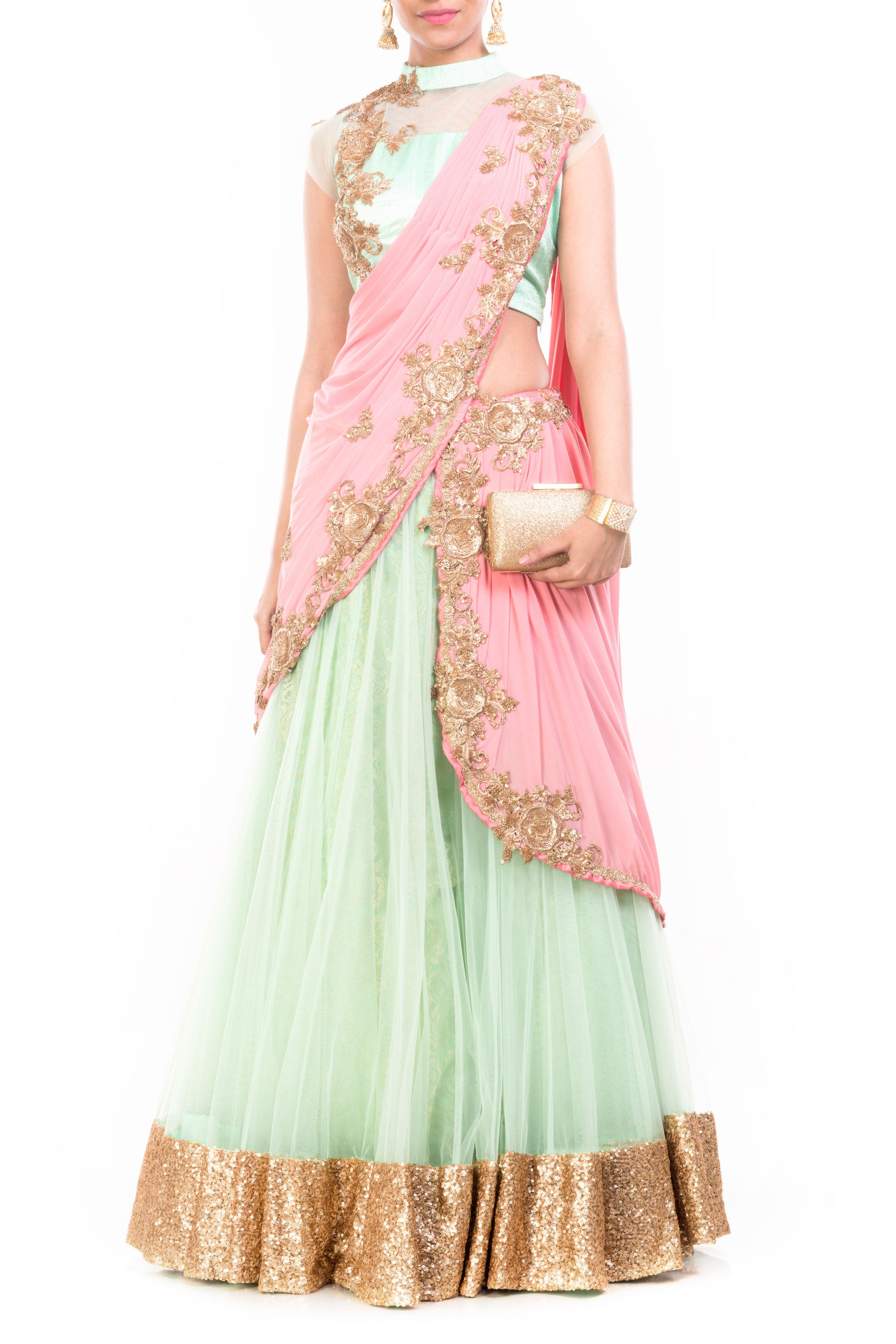 Sea Green & Pinkish Peach Lehenga Set Front