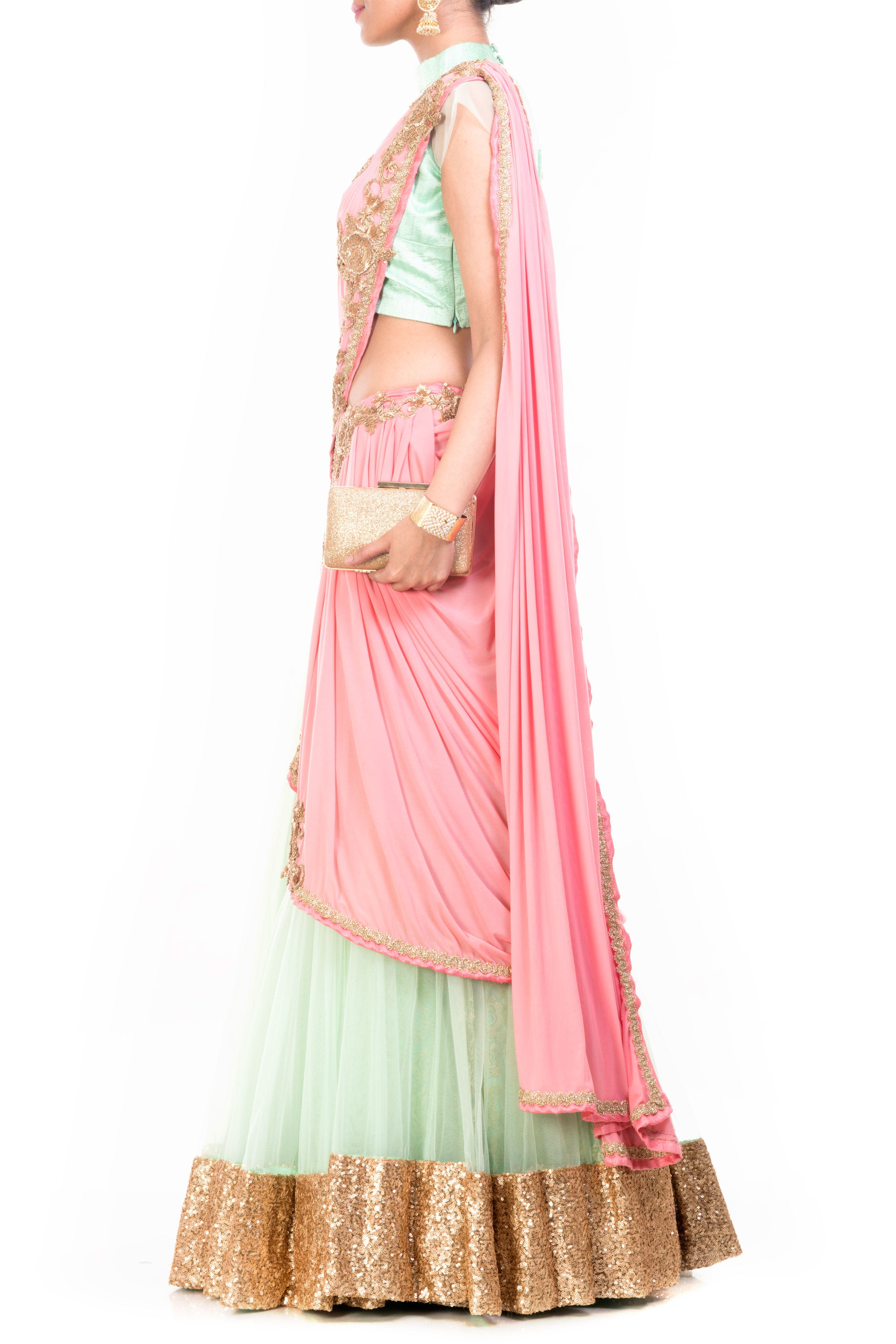 Sea Green & Pinkish Peach Lehenga Set Side