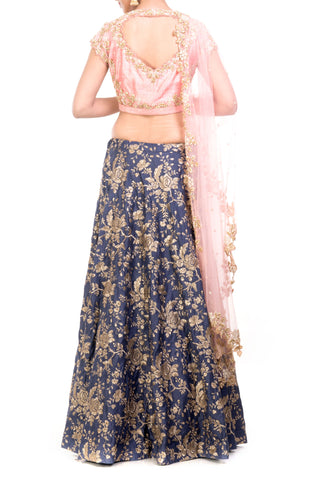 Slate Blue & Blush Pink Lehenga Set