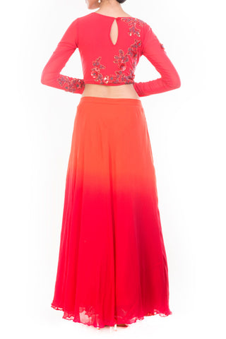Orange Red Shaded Skirt & Crop Top Set