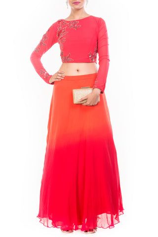 Orange Red Shaded Skirt & Crop Top Set Front