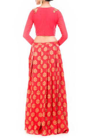 Box Pleated Brocade Skirt With Crop Top